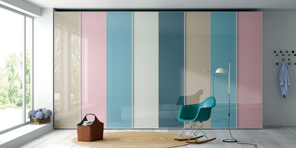 Armario puertas abatibles frentes cristal colores - Puertas abatibles cristal ...
